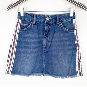 TOPSHOP Moto Side Stripe Denim Mini Skirt 0